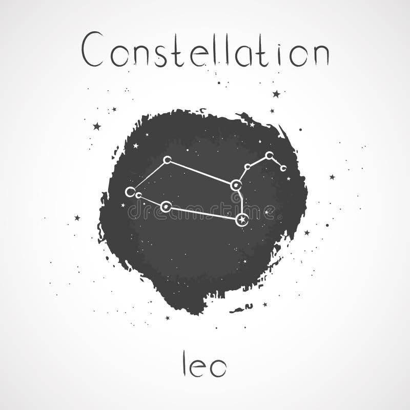 Vector Illustration mit Tierkreiskonstellation LÖWE auf einem Schmutztintenhintergrund lizenzfreie abbildung