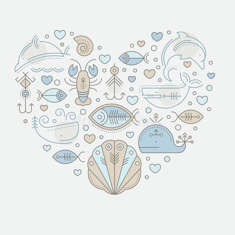 Vector Illustration mit umrissenen Seeseefahrtzeichen und -Meerestieren lizenzfreie abbildung