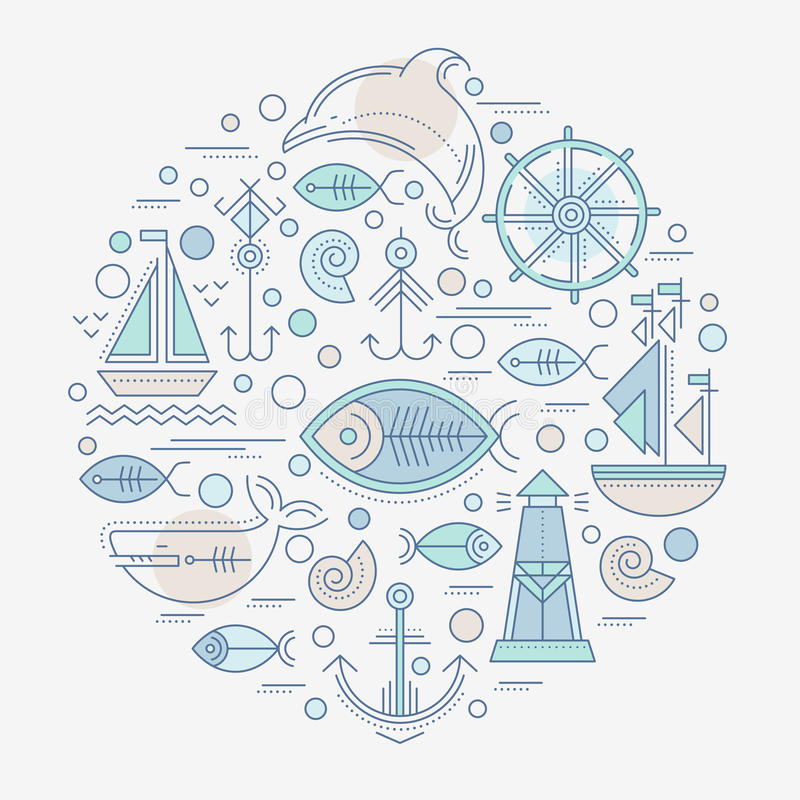 Vector Illustration mit umrissenen Seeseefahrtzeichen und -Meerestieren stock abbildung