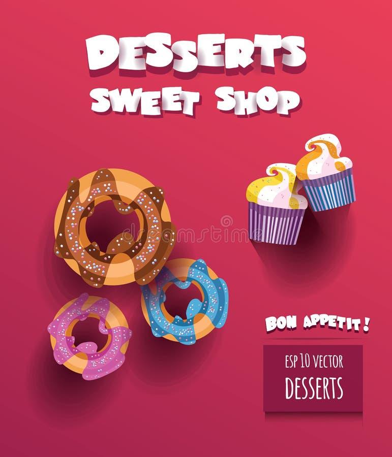Vector Illustration mit zwei kleinen Kuchen und drei Schaumgummiringen mit Nachtisch Süßwarengeschäft und Bon appetit Titel lizenzfreie abbildung