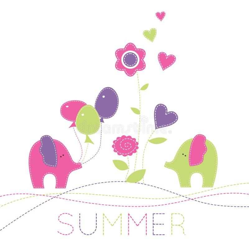Vector Illustration mit zwei wenig Elefanten, baloons und flowe lizenzfreie abbildung