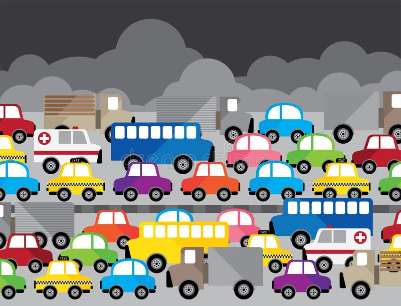 Vector illustration beside model many car. Bus, truck, bike, ambulance and taxi on white background stock illustration