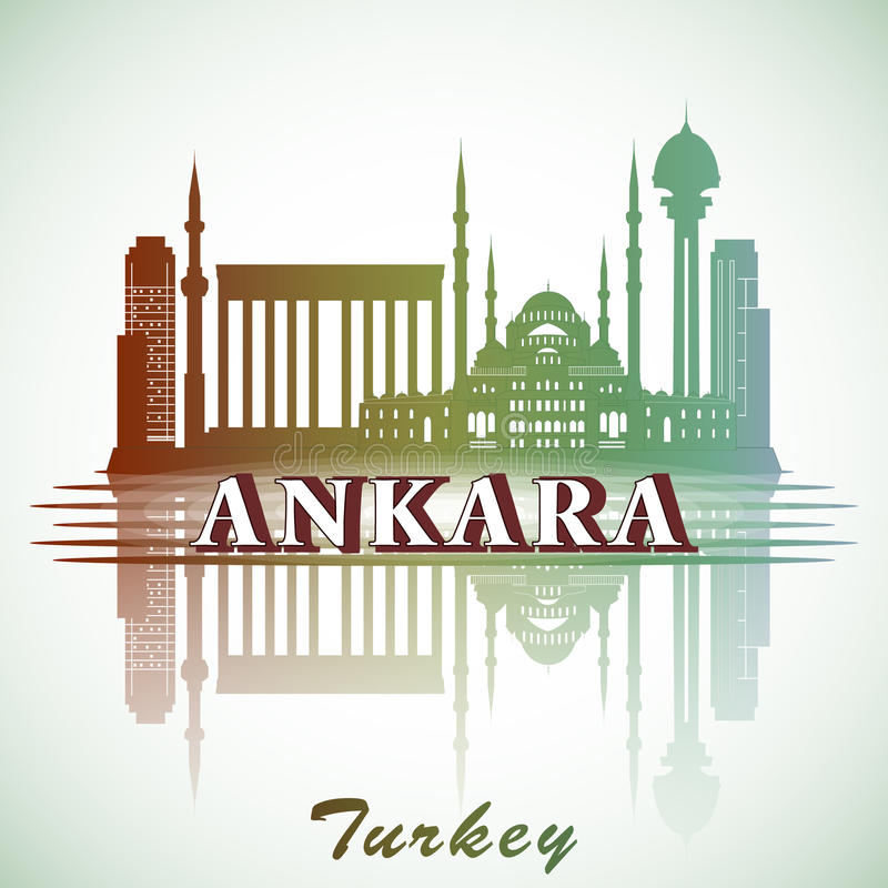Vector illustration of modern Ankara City Skyline Design with landmarks. Turkey. Modern Ankara City Skyline Design with landmarks. Turkey royalty free illustration