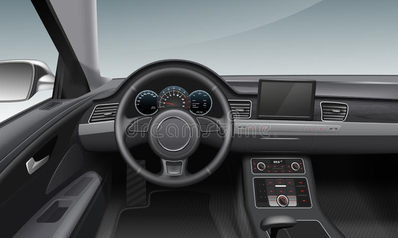 Vector illustration of modern car interior with dashboard and wheel inside salon vector illustration
