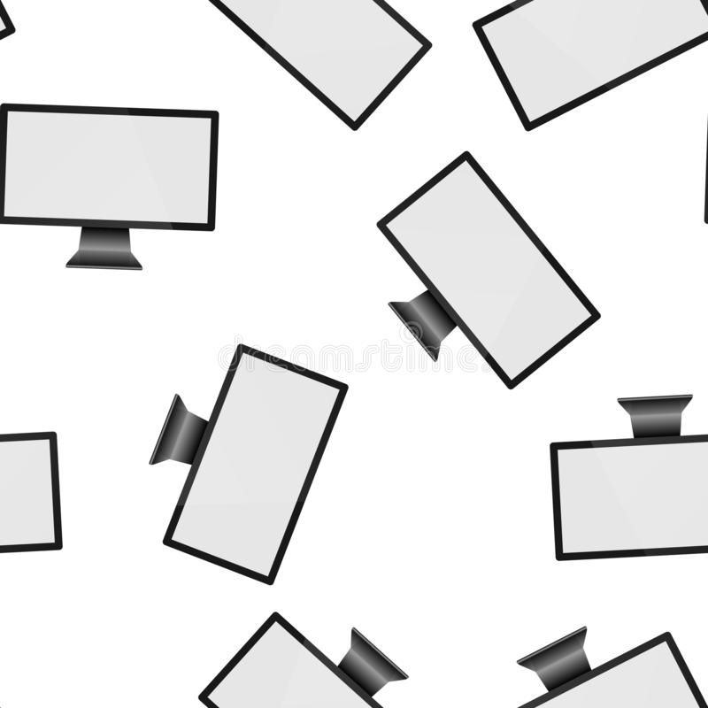 Vector illustration of a modern computer monitor. Monitor with white blank screen seamless pattern on a white background. Layers royalty free illustration