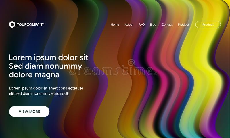 Vector illustration of Modern design with flow shape and liquid wave background. Responsive landing page or web template design. Responsive landing page or web stock illustration