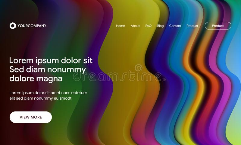 Vector illustration of Modern design with flow shape and liquid wave background. Responsive landing page or web template design. Responsive landing page or web royalty free stock photography