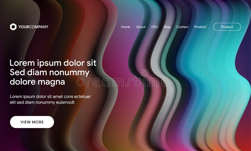 Vector illustration of Modern design with flow shape and liquid wave background. Responsive landing page or web template design. Responsive landing page or web vector illustration