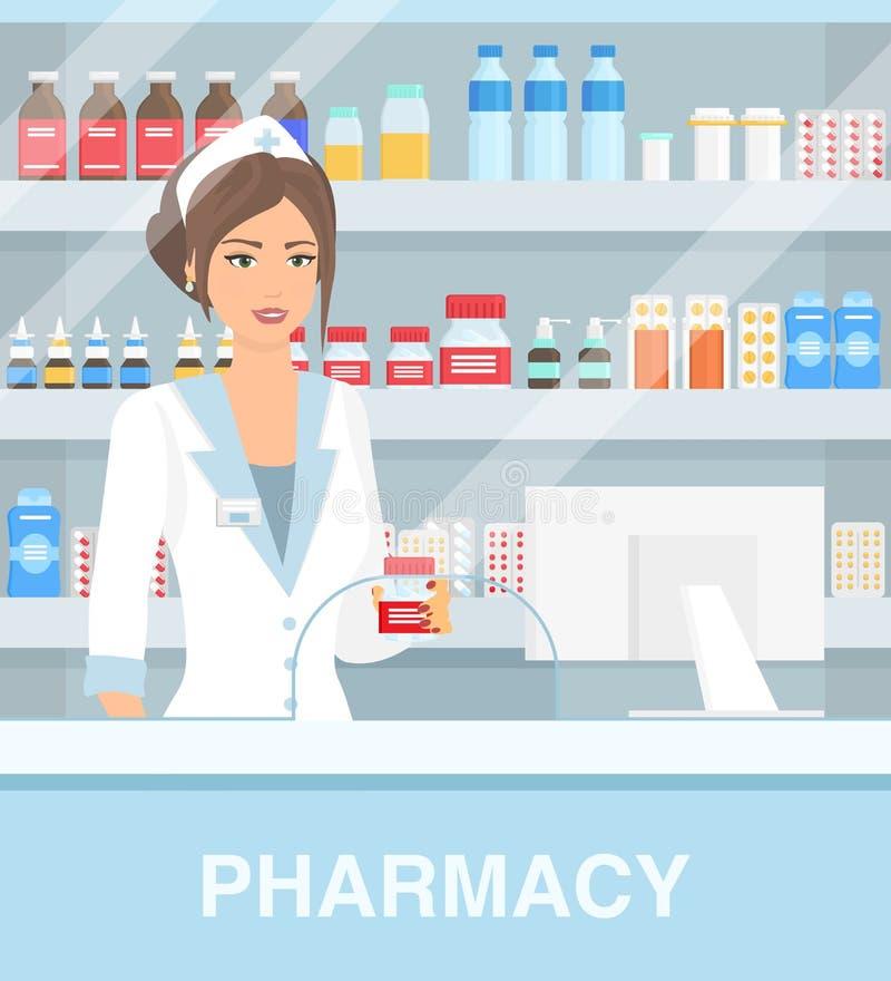 Vector illustration of modern interior drugstore with pretty female pharmacist. Beautiful woman pharmacy, pills capsules stock illustration