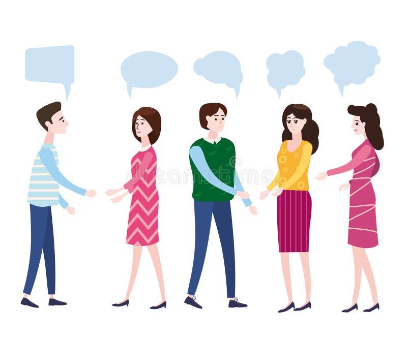 Vector Illustration, moderne Karikaturart, Geschäftsmänner besprechen Soziales Netz, Nachrichten, soziale Netzwerke, Chat, Dialog vektor abbildung