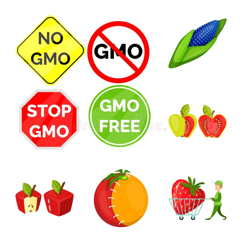Vector design of modified and genetically logo. Collection of modified and science stock symbol for web. stock illustration