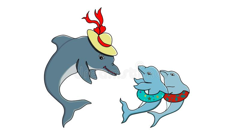 Vector illustration of a mom dolphin and her two playful baby dolphins stock illustration