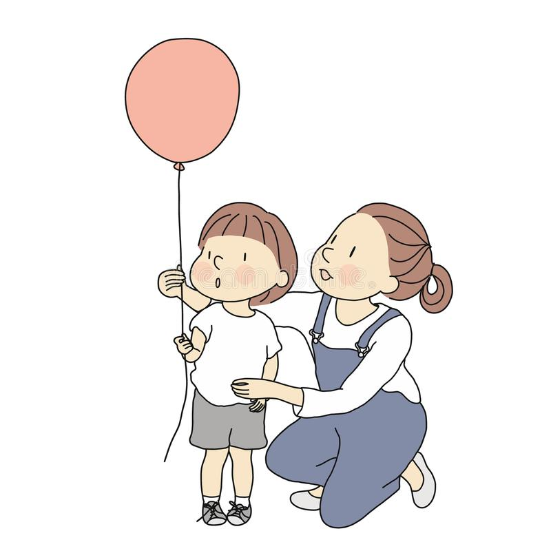 Vector illustration of mom and little kid with red balloon. Happy mother`s day, happy children day, greeting card. Family royalty free illustration