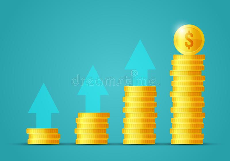 Vector illustration money growth concept. Stacks of flat icon gold coins, income increase, finance statistic report, investment pr stock illustration