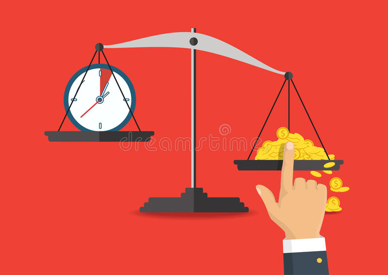 Vector illustration. Money and time balance on the scale. Money and time balance on the scale. Business concept. Vector illustration vector illustration