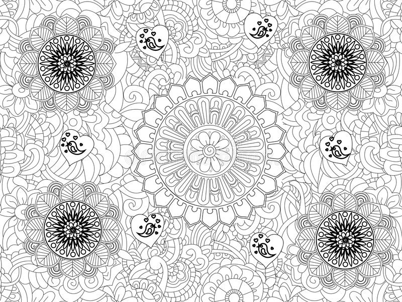Download Vector Monochrome Floral Pattern Hand Drawn Texture Decorative Flowers Coloring Book