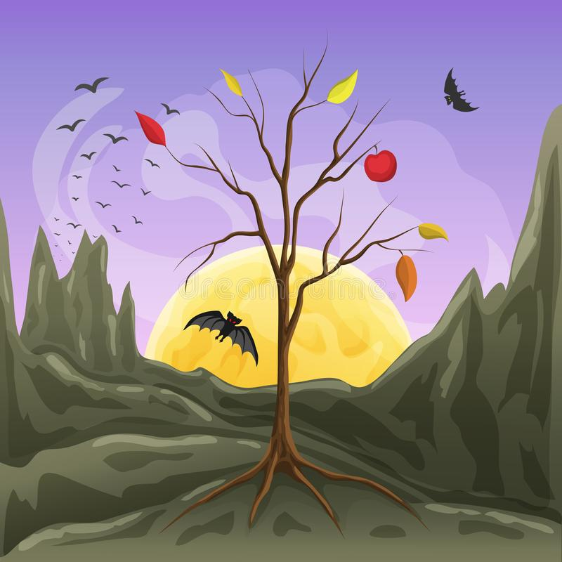 Vector illustration of moonrise, bare tree silhouette and flying bats at rocky landscape in cartoon style. scary or stock illustration
