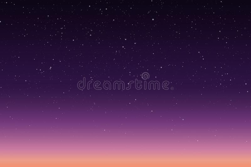 Vector illustration of morning or evening starry sky with sunrise vector illustration