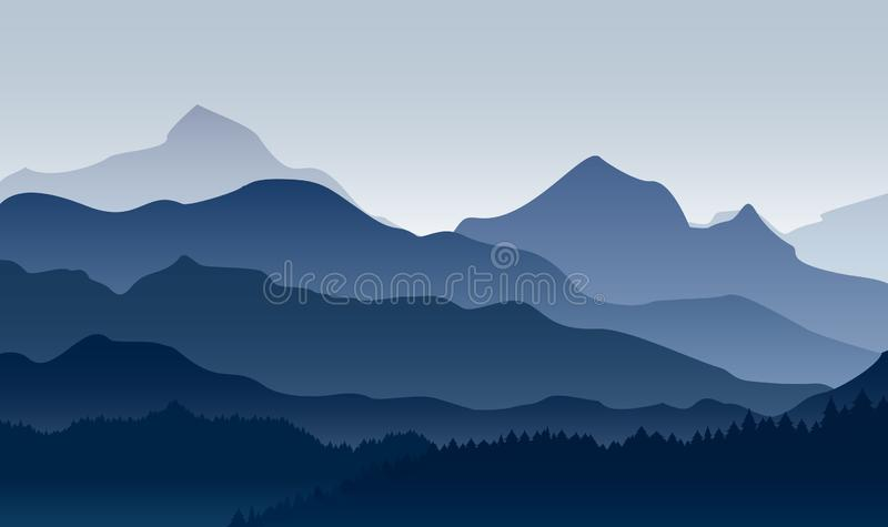 Vector illustration of morning in mountains. Mysterious landscape of forest, mountaings in fog in blue colors, flat stock illustration