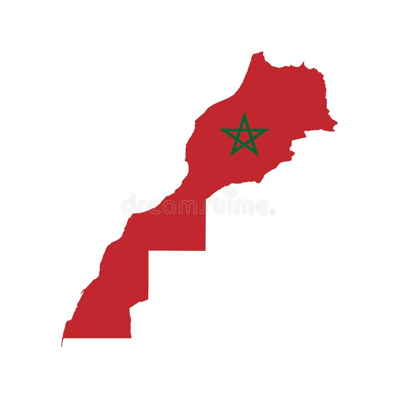 Vector illustration of Morocco flag map. Vector map. vector illustration