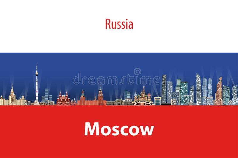 Vector illustration of Moscow city skyline with flag of Russia on background stock illustration