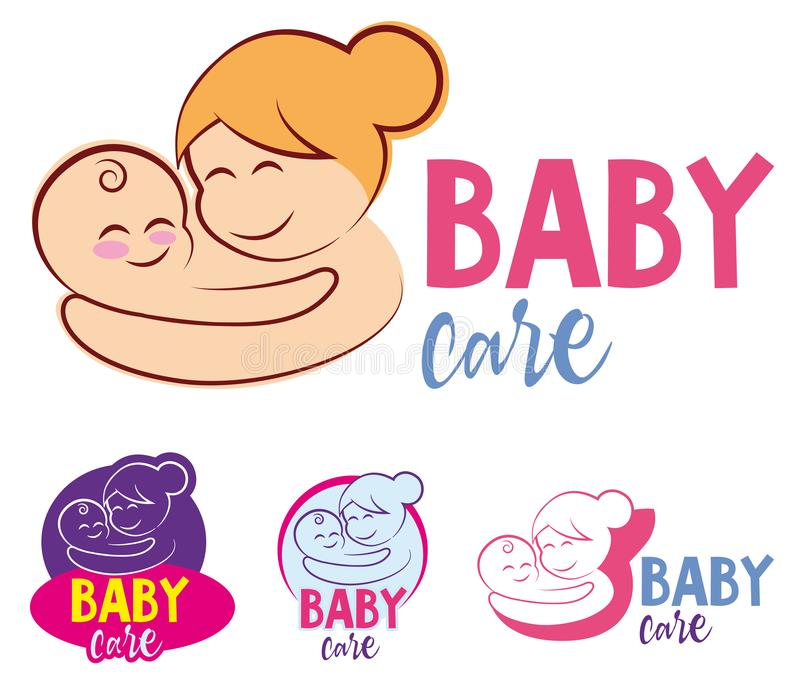 Vector illustration of mother and baby stylized vector symbol, mom hugs her child logo template. Mother holding Child baby. Medici. Ne Clinic Care Charity Fund stock illustration