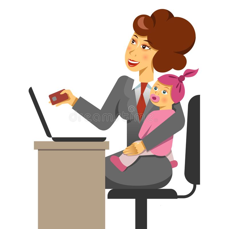 A vector illustration of a mother with a kid while internet shopping. Work and life balance. stock illustration