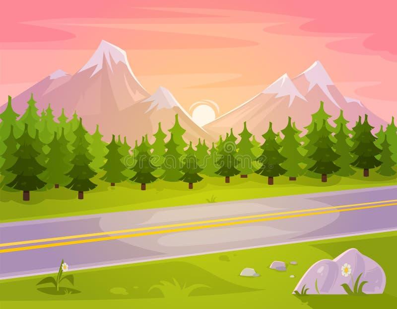 Vector illustration of a mountain landscape stock illustration