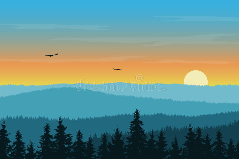 Vector illustration of mountain landscape with forest in fog. Under morning orange sky with rising sun, clouds and flying birds vector illustration