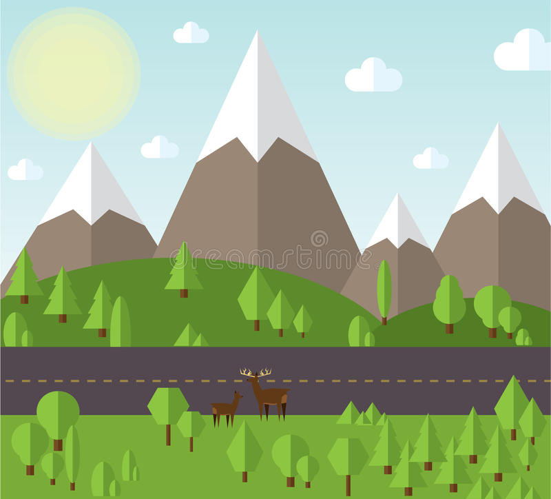 Vector illustration Mountain landscape beside the road, the hills are covered. With forests, clear sky with clouds and sun stock illustration