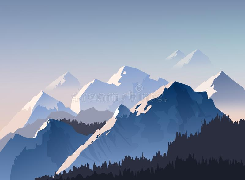 Vector illustration of mountain range, and peaks with morning light shrouded in fog. Landscape wallpaper royalty free illustration