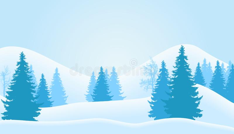 Vector illustration of mountain winter landscape with snow, coniferous forest and trees without leaves, under a blue cool sky royalty free illustration