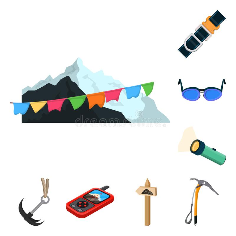 Vector illustration of mountaineering and peak symbol. Set of mountaineering and camp vector icon for stock. Isolated object of mountaineering and peak sign stock illustration
