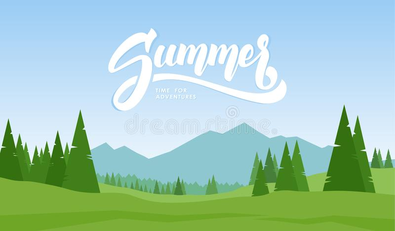 Mountains landscape with hand lettering of Summer and pines on foreground. Vector illustration. Mountains landscape with hand lettering of Summer and pines on stock illustration