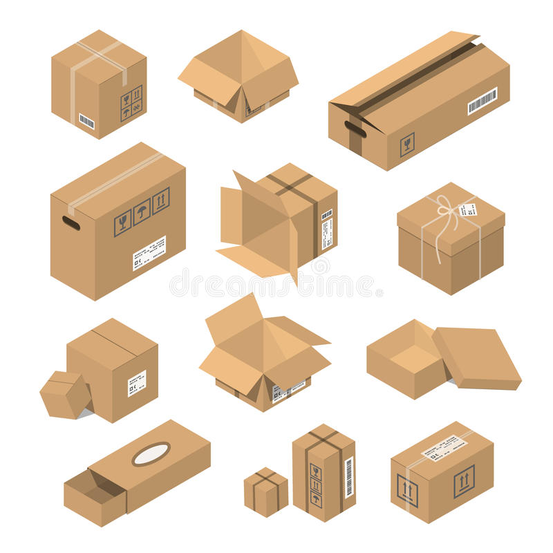 Vector illustration moving box isometric isolated. Carton delivery packaging open and closed with fragile signs. Vector illustration moving box isometric royalty free illustration