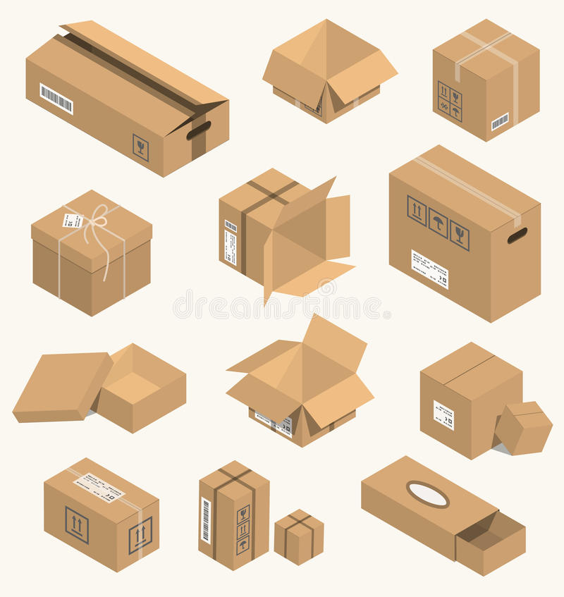 Vector illustration moving box isometric isolated. Carton delivery packaging open and closed with fragile signs. Vector illustration moving box isometric vector illustration