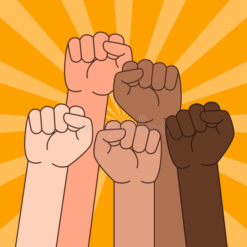 Multi Ethnic People With Raised Fist Illustration royalty free illustration