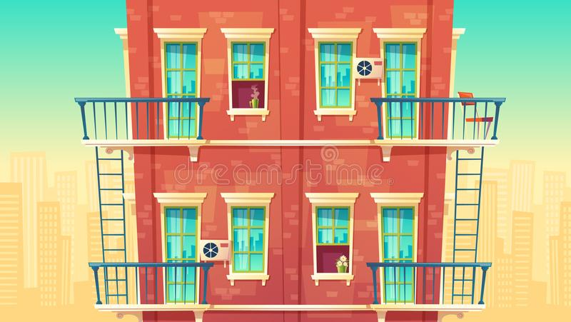 Vector illustration of multi-storey apartment, house outside concept, private building. Architecture promo background royalty free illustration