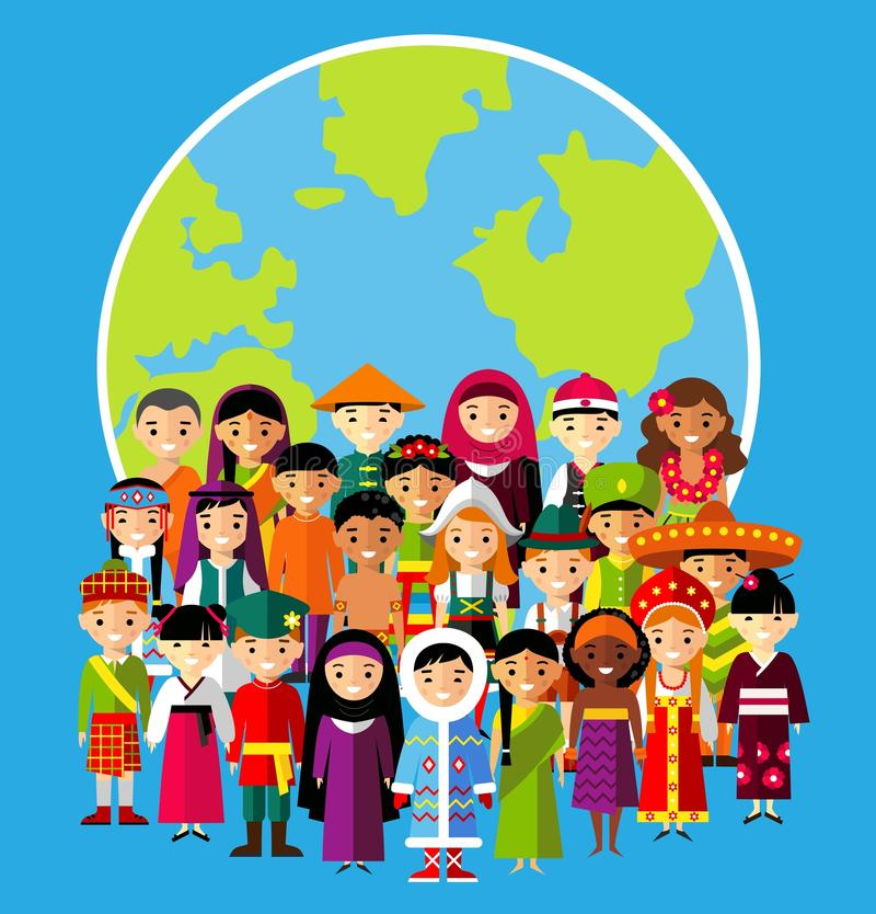 Vector illustration of multicultural national children, people on planet earth vector illustration
