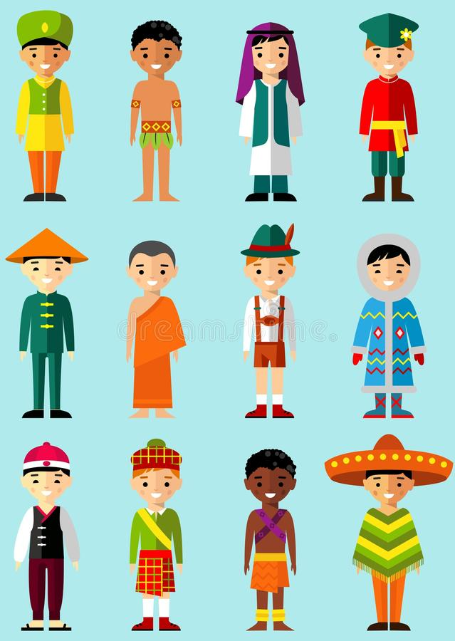 Vector illustration of multicultural national children, people in traditional costumes royalty free illustration