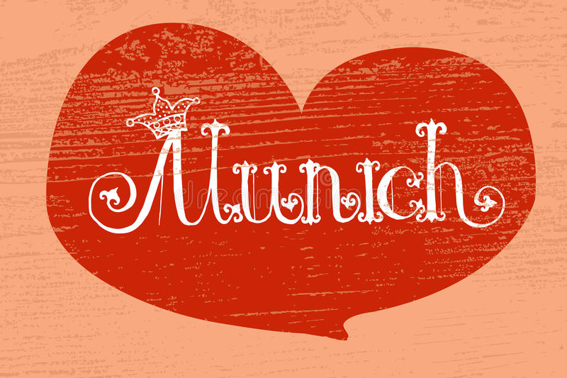 Vector illustration of Munich logotype. Oktoberfest celebration design on textured background. Lettering with frame. Hand sketched city icon. Beer festival royalty free illustration