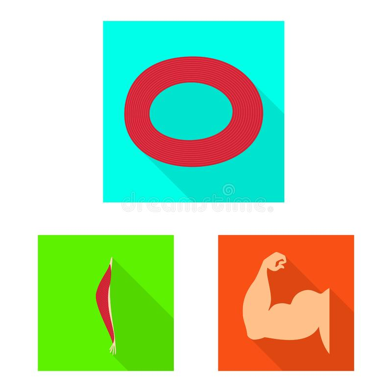 Vector illustration of muscle and cells sign. Collection of muscle and anatomy vector icon for stock. Isolated object of muscle and cells logo. Set of muscle royalty free illustration