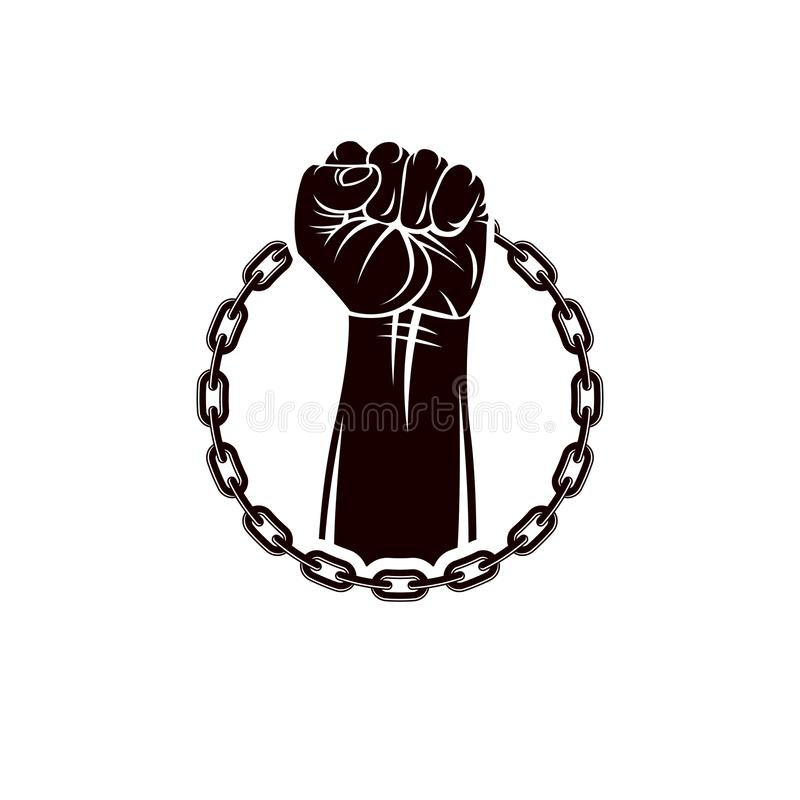 Vector illustration of muscular clenched fist of strong man raised up and surrounded by iron chain. Global authority as the means vector illustration