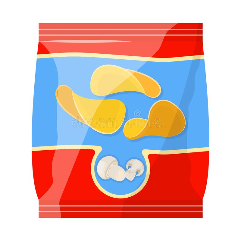 Vector illustration of mushroom and chips icon. Collection of mushroom and chips stock symbol for web. stock illustration