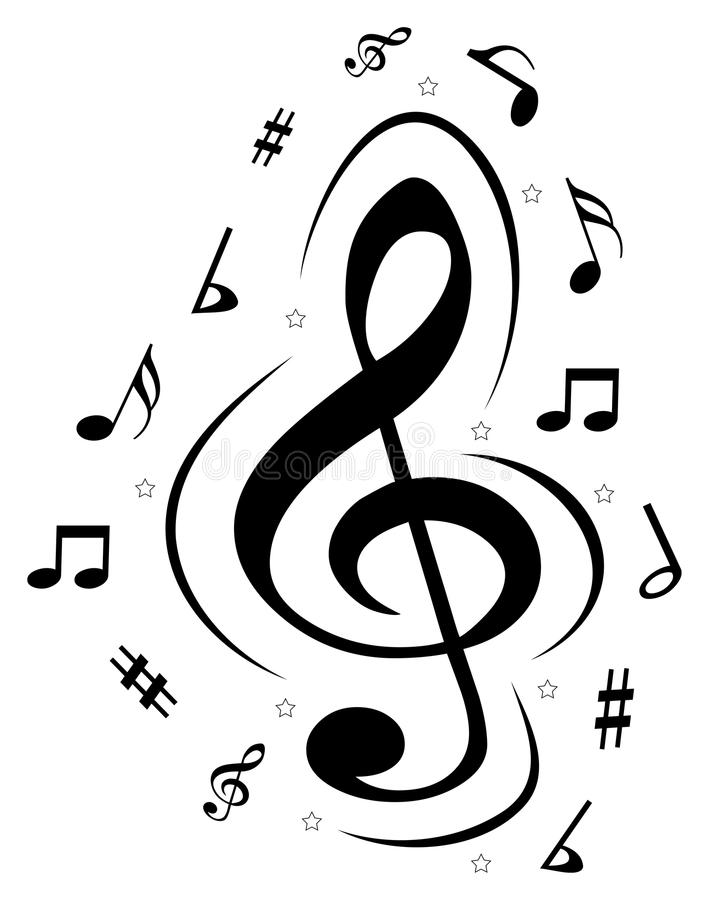 Vector music notes logo royalty free illustration