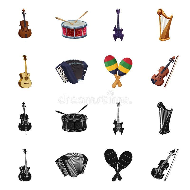 Vector illustration of music and tune icon. Set of music and tool vector icon for stock. Isolated object of music and tune symbol. Collection of music and tool vector illustration