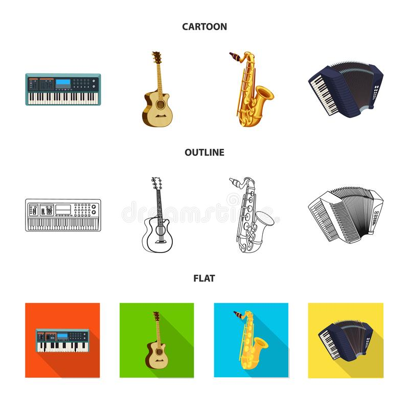 Vector illustration of music and tune logo. Collection of music and tool stock symbol for web. Isolated object of music and tune icon. Set of music and tool vector illustration