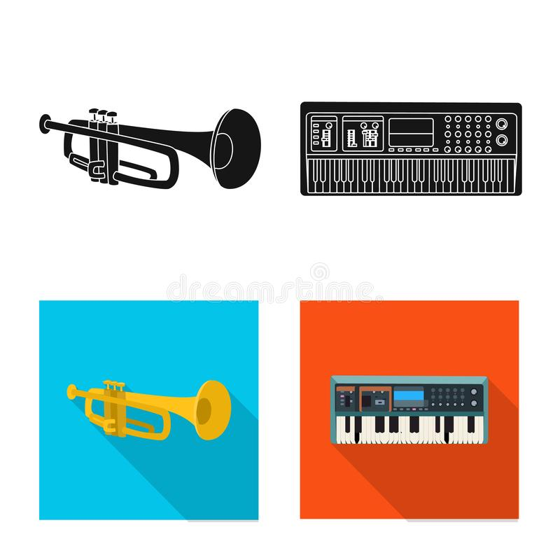 Vector illustration of music and tune logo. Set of music and tool vector icon for stock. Isolated object of music and tune icon. Collection of music and tool vector illustration