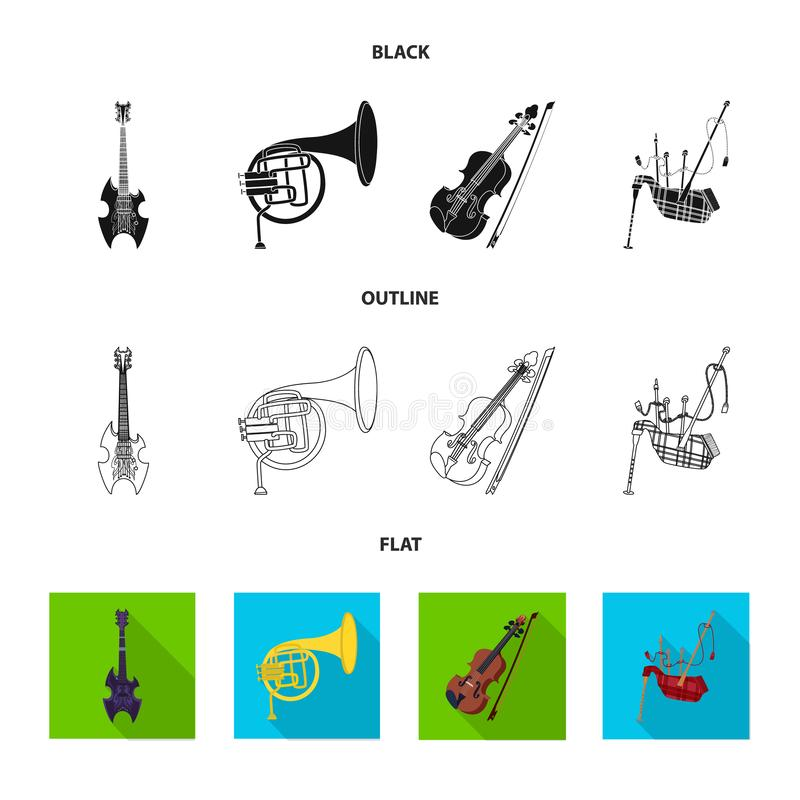 Vector illustration of music and tune sign. Collection of music and tool stock symbol for web. Isolated object of music and tune logo. Set of music and tool stock illustration