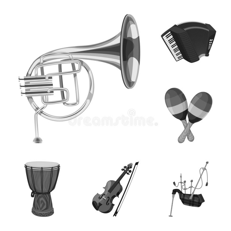 Vector illustration of music and tune sign. Collection of music and tool stock symbol for web. Isolated object of music and tune logo. Set of music and tool royalty free illustration